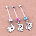 Flexible Pregnancy Maternity Baby Feet Boys Girls Belly Bar Navel Rings Piercing