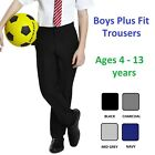 Boys Plus Fit School Trousers Black Grey Navy Sturdy Fit Comfort Fit Age 4 - 13