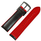 New 20mm 22mm 24mm Black Calf Leather with Red Silicone Watch Strap Watch band