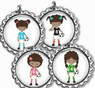 Soccer Girl Player Bottle Cap Necklace with Chain Handcrafted Sports Gift