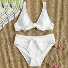 Womens Bikini Swimwear Set Padded Underwire Textured Tied Bathing Suit Swimsuit