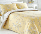 YASMINA OCHRE DUVET COVER SET FLORAL LEAVES VINE YELLOW GREEN PRETTY REVERSIBLE