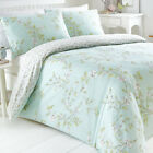 YASMINA DUCKEGG DUVET COVER SET FLORAL PRETTY LEAVES VINE BLUE GREEN OFF WHITE