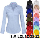 KOGMO Womens Solid Long Sleeve Button Down Office Blouse Dress Shirt (S-3X)