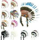 Indian Headdress Chief Feathers Bonnet Native American Gringo Fancy Dress Party