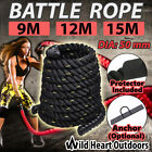 50mm Battle Rope Strength Training Home Gym Exercise Fitness Anchor 9M/12M/15M