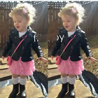Toddler Kids Baby Girls Long Sleeve Leather Jacket Zipper Outwear Coat Outfits