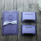 30/50-Personalized engraved Purple Lace Wedding Bridal Shower Invitations Cards