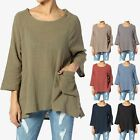 TheMogan Crinkled Gauze Cotton Dual Pocket 3/4 Sleeve Hi Low Loose Fit Top