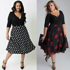 Uk Plus Size Womens V Neck Floral Cocktail Ladies Prom Evening Party Swing Dress