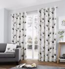 Fusion Kiera Watercolour Floral Poppy Fully Lined Eyelet Ring Top Curtains Grey