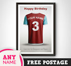 PERSONALISED Burnley Football Shirt Print Poster Gift Present Uncle Dad Son A4