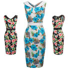 Vintage Retro 50s 60s Floral Pencil Midi Hips-Wrapped Casual Formal Party Dress