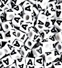 50 pcs acrylic white beads with alphabet black letter, 8 mm, cube, single A, M