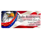 american flag address labels - 60 USA American Flag Eagle Stars and Stripes Personalized Return Address Labels