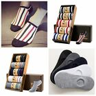 5pairs Lot Mens Stripe/Solid Ankle Socks Soft Cotton Socks One Size Low Cut