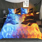 Fire and Ice by JoJoesArt  Duvet Cover Wolf Bedding Set Comforter Cover Case 3PC