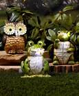 Solar Carved Wood Look LED Lighted Garden Statue Frog Owl...
