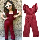 Baby Girls Jumpsuit Backless Velvet Bib Pants Romper Long Pants Clothes Outfits