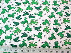 Payless Fabric Cotton Flannel Green Frogs and Dragonflies