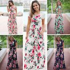 UK Womens Summer Floral Print Short Sleeve Dress Ladies Boho Party Maxi Dress