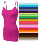 Womens Tank Top Plain Cami Bozzolo Long Layering Spaghetti Strap S,M,L Free Ship