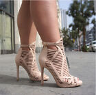 open toe nude shoes - NUDE TAUPE ANKLE HIGH HEELS STILETTO FASHION NEW HOT CUT OUT OPEN TOE SUMMER