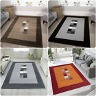 Chocolate Brown Bordered Square Pattern Rug Large Long Hallway Runner Rugs