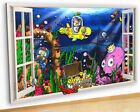 M464 Underwater Animals Fish Scuba Canvas Picture Poster Wall Art Stickers Room