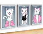 M499 Cats Crown Princess Girls Cute Canvas Picture Poster Wall Art Stickers Room