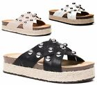 WOMENS STUDDED SANDALS PEEP TOE SUMMER ESPADRILLES CORK WEDGES PLATFORM SHOES