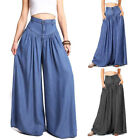 Plus Size Womens Sexy High Waist Wide Leg Loose Thin Pants Trousers Fashion New