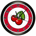 CHERRIES KITCHEN WALL CLOCK FRUIT CHERRY RED DECORATIVE ROOM DECOR ART GIFT
