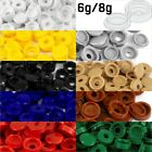 SMALL PLASTIC HINGED SCREW COVER CAPS WHITE YELLOW BLACK BLUE FOLD OVER 6g/8g