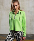 New Womens Superdry Sport Gym Tech Luxe Crop Hoodie Electric Lime