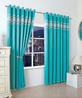 DIAMOND BAND TEAL CURTAINS EYELET LUXURY RING TOP GREEN BLUE TURQUOISE BLOCK OUT