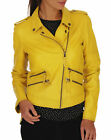 Womens Lambskin Leather Jacket Motorcycle Bomber Biker Soft Yellow Coat -S # 363