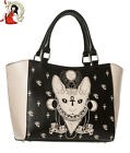 BANNED BASTET SPHYNX cat TOTE shoulder BAG alternative HANDBAG BLACK/CREAM