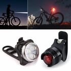 New USB Rechargeable LED Bicycle Bike Cycling Head Front Lamp & Tail Light Set N