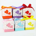 10/50/100 Lovely Heart Cut Candy Gift Boxes With Ribbon Wedding Party Favor