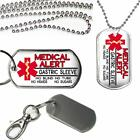 Medical Alert Gastric Sleeve Surgery Alert Dog Tag on Key Chain or Necklace