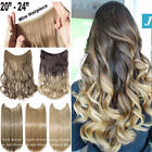 "20/24"" 120G Invisible Wire Hair Extensions Headband Hidden Secret Wire Hair FR5"