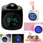 Multi-function Digital Alarm Clock LCD Voice Talking LED Projection Temperature