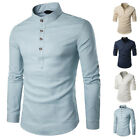 Mens Long Sleeve Shirts Cotton Linen Casual Formal Slim Fit Shirt Top M-2XL