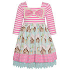 Counting Daisies Little Girls Pink Stripe Winter Print Christmas Dress 2T-6X