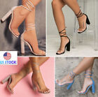 Summer Womens Ankle High Heel Lace Up Transparent Open Toe Platforms Party Shoes