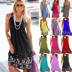 Uk Plus Size Womens Boho Floral Sleeveless Summer Holiday Beach Party Midi Dress