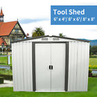 Metal Outdoor Storage Shed Kit Garden Backyard Toolshed House Waterproof 3 Size
