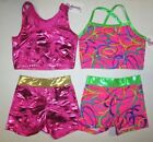 New Girls Crop Top Shorts Sets Size 10 MC LC Child Dance Gymnastics Cheer M L