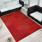 Design Velours Kurzflor Teppich »Bombay« Patchwork-Look Ornament rot modern